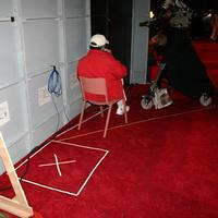 """X"" marks the spot President Bush will stand before walking on stage"