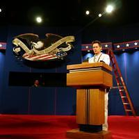 a sound check on stage at President Bush's podium, Tuesday